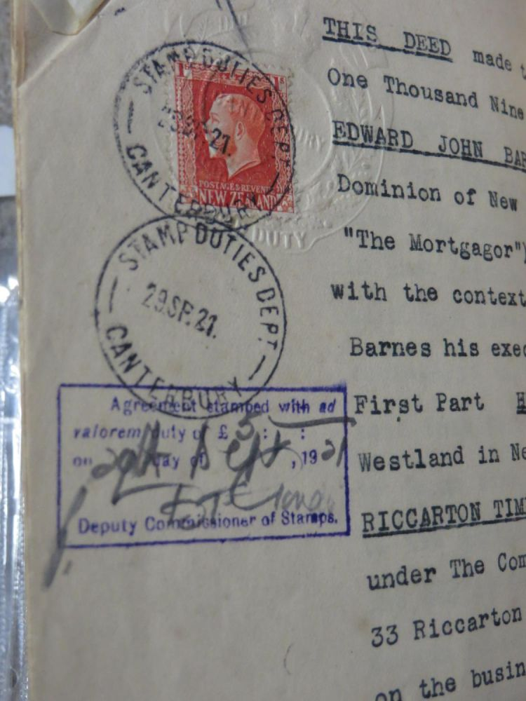 Deed of Mortgage, Edward John Barnes, 1st. Part., Hugh Keenan, 2nd Part, Riccarton Timber Company Limited, Kaiapoi Shipping and Trading Company Limited, 3rd Part., Dated 6 Sept. 1921. Edward John BARNES.