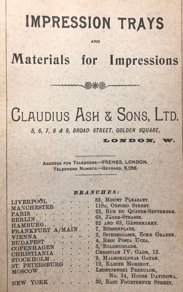 IMPRESSION Trays and Materials for Impressions List J. Early Dental Trade Catalogue. Dentistry.