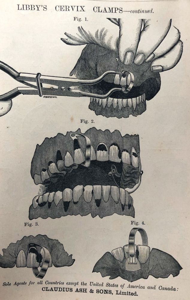 COFFER-DAM APPLIANCES, MOUTH MIRRORS,SYRINGES, PIVOTING INSTRUMENTS...PREPARATIONS FOR THE OPERATING ROOM, AND SUNDRIES. List H. Early Dental Trade Catalogue. Dentistry.