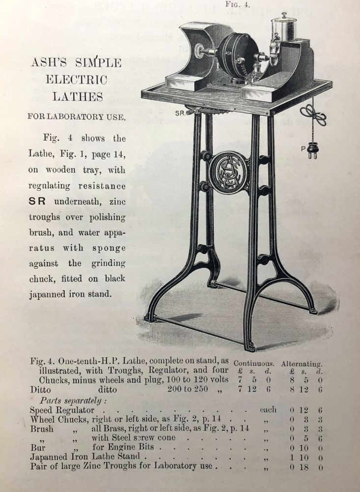 ELECTRICAL APPARATUS. List F. Early Dental Trade Catalogue. Dentistry.