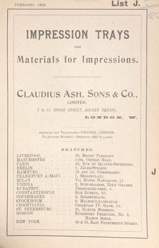 IMPRESSION TRAYS and Materials for Impressions. List J. Early Dental Trade Catalogue. Dentistry.