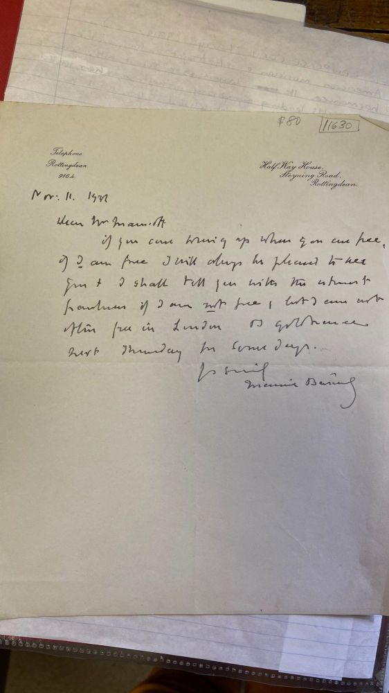 Autographed letter. Maurice BARING.