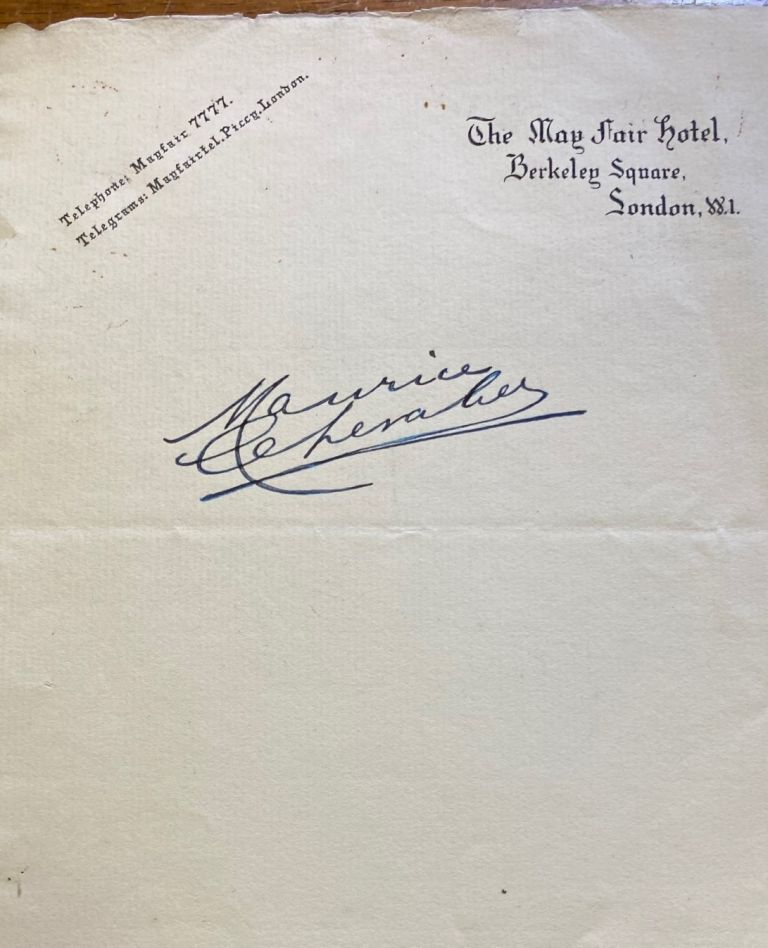 Maurice Chevalier autograph. Maurice CHEVALIER.