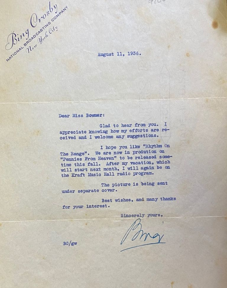 Signed letter. Bing CROSBY, Harry Lillis.