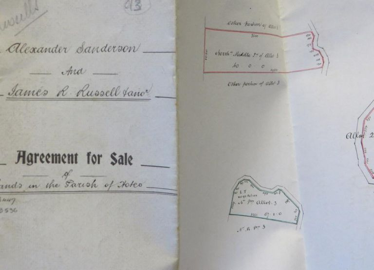 Agreement for Sale of lands in the Parish of Hoteo (Sanderson & Russell)