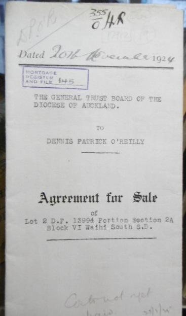 Agreement for Sale - General Trust Board of the Diocese of Auckland to Dennis Patrick O'Reilly