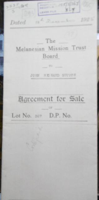 Agreement for Sale - The Melanesian Mission Trust Board to John Richard Sutton