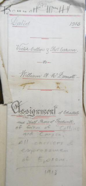 Assignment of Chattels and Half Share of Goodwill of firm of 'Collins and Carson.' Victor Collins & Thomas Carson to William McDermott