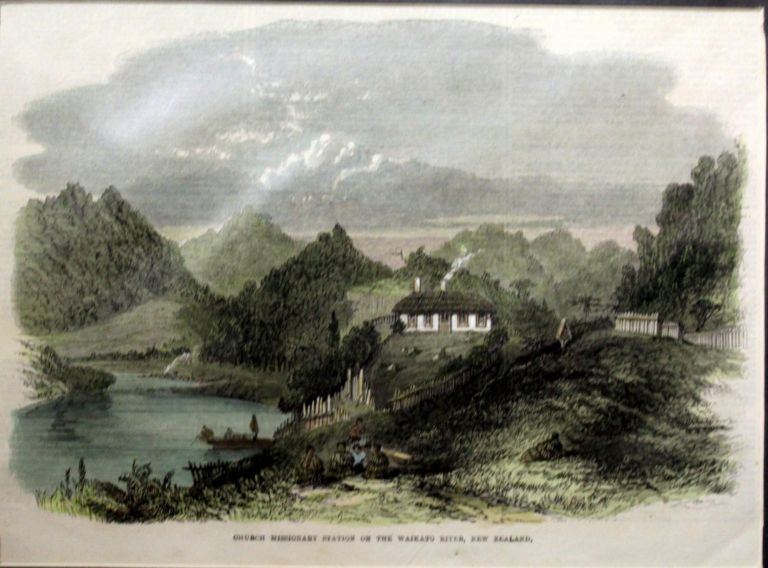 Church Missionary Station on the Waikato River, New Zealand Engraving