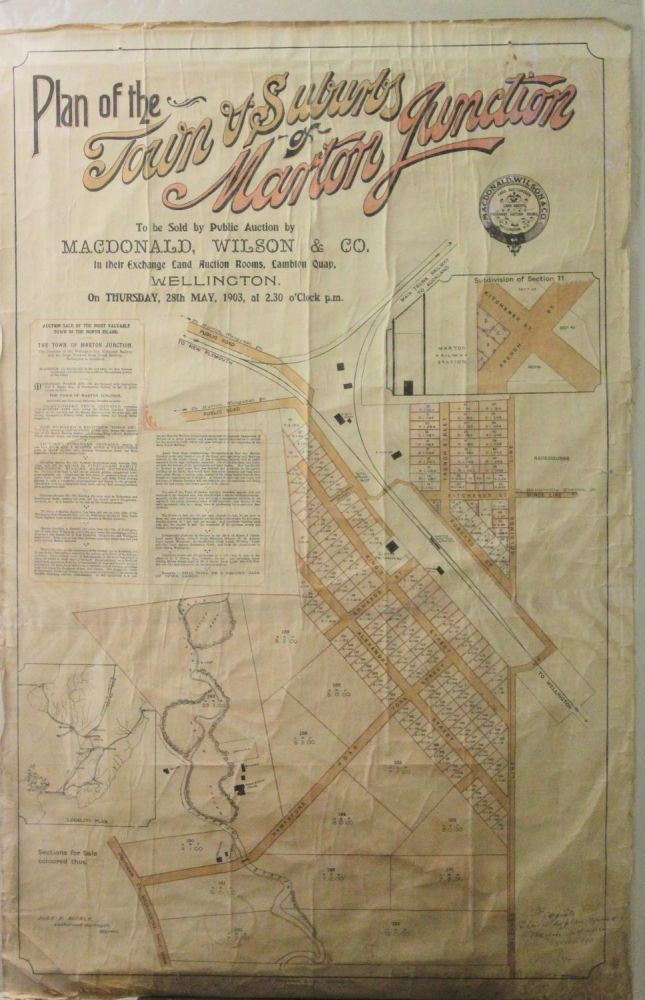 Plan of the Town & Suburbs of Marton Junction to be sold By Public Auction By MacDonald, Wilson & Co, In Their Exchange Land Auction Rooms, Lambton Quay, Wellington. On Thursday, 28th May, 1903, at 2.30 O'clock P.m.