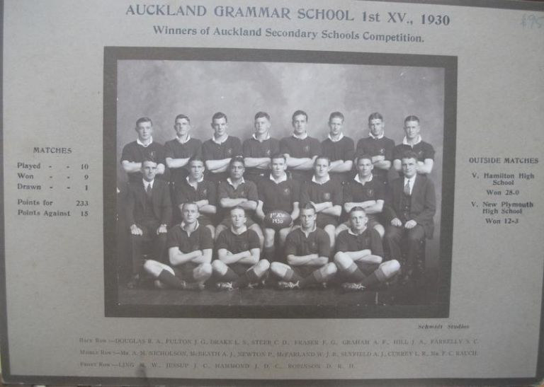 Auckland Grammar School 1st XV., 1930. Winners of Auckland Secondary Schools Competition team Photograph