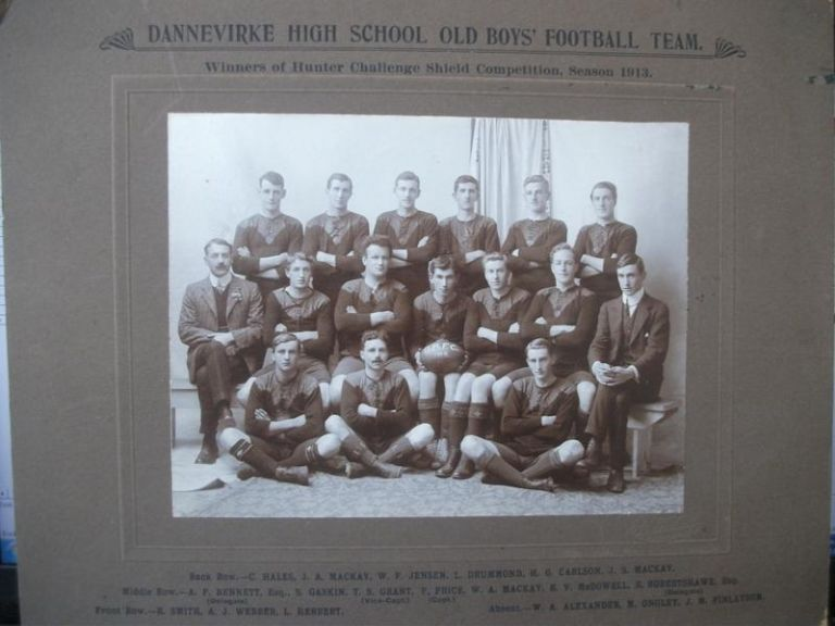 Dannevirke High School Old Boys' Football Team. Winners of Hunter Challenge Shield Competition, Season 1913. Team Photograph