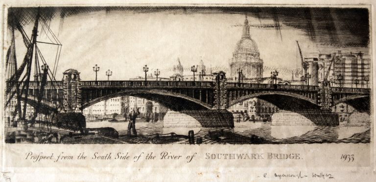 Prospect from the South Side of The River of Southwark Bridge 1933 Engraving