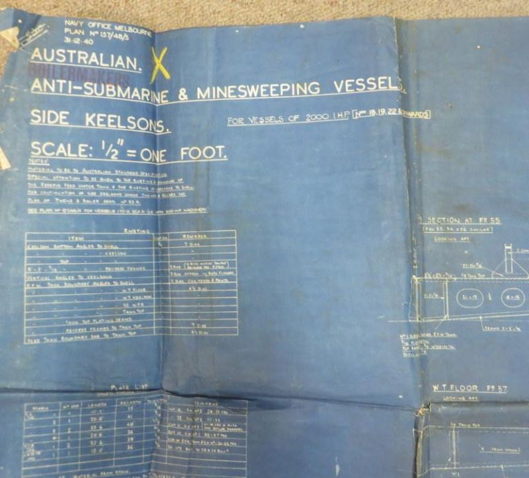 """Australian Anti-Submarine and Minesweeping Vessel. Side Keelsons. Scale a/2"""" - 1 Foot."""