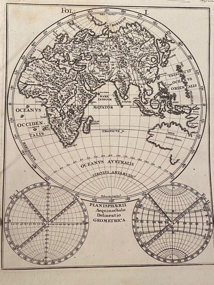 Globe Sphere showing from North-East Africa to New Guinea and from the North to the South Poles. MAP.