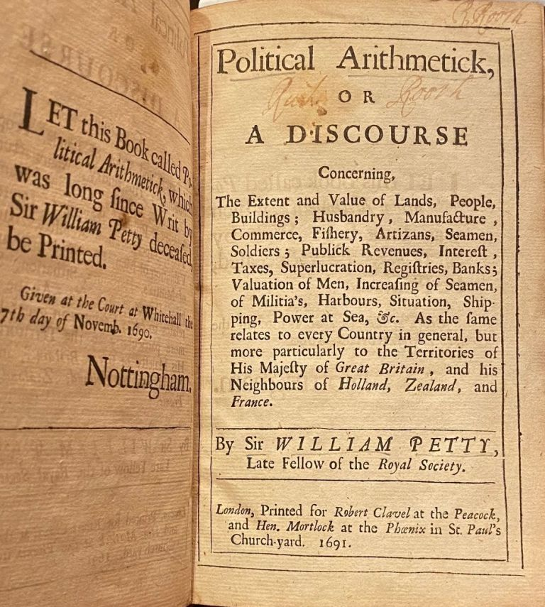 Political Arithmetick, Or A Discourse Concerning The Extent And Valuable Lands, People, Buildings; Husbandry, Manufacture, Commerce, Fisheries, Artizans, Seaman, Soldiers; Publick, William PETTY.