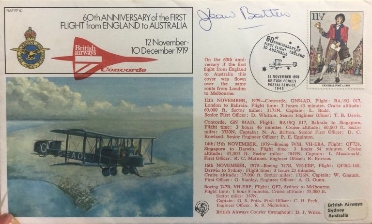 Signed First Day Cover. Jean Batten.