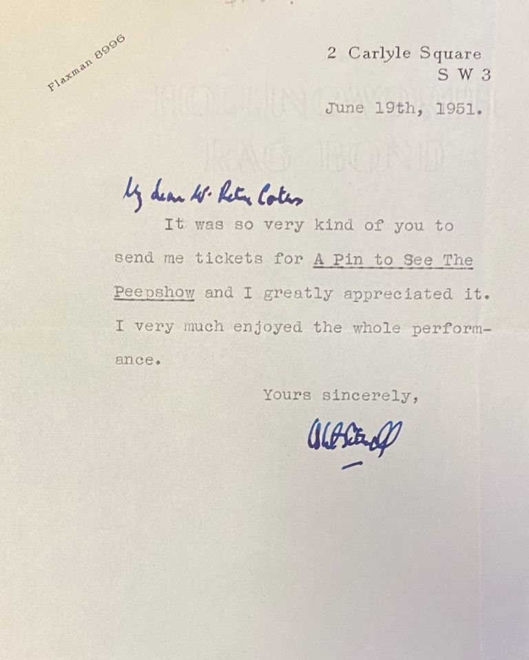 Typed signed letter. Osbert Sitwell.