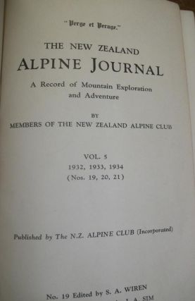 THE NEW ZEALAND ALPINE JOURNAL; a Record of Mountain Exploration and Adventure. Vol. 5...