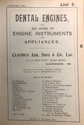 DENTAL ENGINES, AND ALL KINDS OF ENGINE INSTRUMENTS AND APPLIANCES. List E. Early Dental Trade...