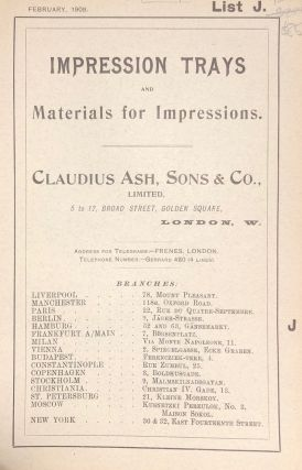 IMPRESSION TRAYS and Materials for Impressions. List J. Early Dental Trade Catalogue. Dentistry