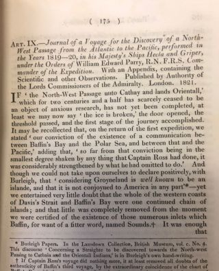 William Parry and The North West Passage. THE QUARTERLY REVIEW.vol. XXV April & July 1821