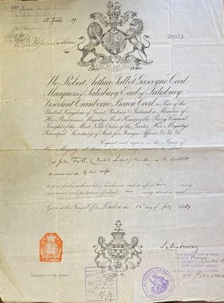 Signed passport. Robert CECIL, Marquess of Salisbury