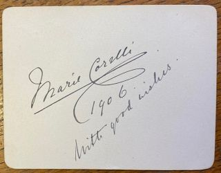 Signed card. Marie CORELLI