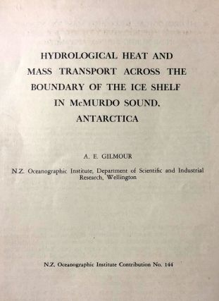 Hydrological Heat and Mass Transport Across The Boundary Of the Ice Shelf in McMurdo Sound,...