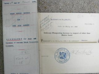 Documents re Percy Goodsir - gold Prospecting