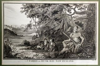 A Family in Dusk Bay, New Zealand Engraving