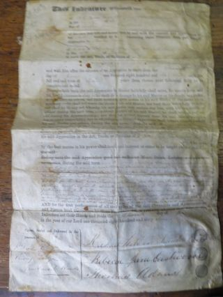 Indenture Document to serve a printing Apprenticeship