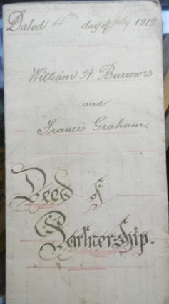 Deed of Partnership - William H Burrows and Francis Graham