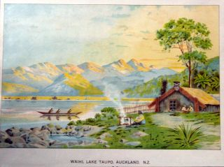 Waihi, Lake Taupo, Auckland, N.Z. - Lithograph