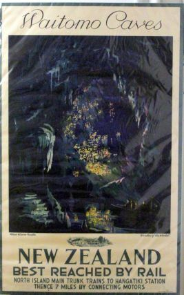 Original Waitomo Caves, New Zealand, Rail Poster