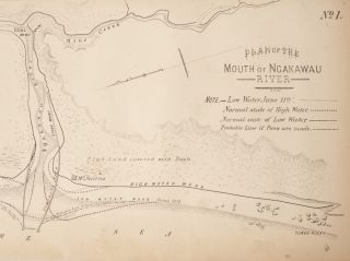 Plan of The Mouth of Ngakawau River - Line Map