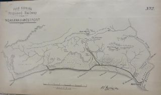 West Coast. Plan Shewing Proposed Railway from Ngakawau to Westport - Line Map