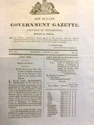 Shipping. Wellington. New Zealand Government Gazette. Vol XI, Thursday August 11, 1864, No. 32