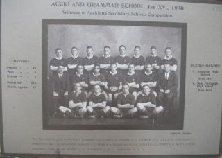 Auckland Grammar School 1st XV., 1930. Winners of Auckland Secondary Schools Competition team...