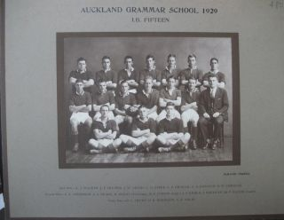 Auckland Grammar School 1929 I.B. Fifteen Team Photograph