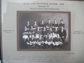 Auckland Grammar School 1928. Second XV Winners Second Grade Championships Team Photograph