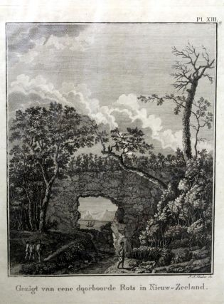Gezigt Van Eene Doorboorde Rots in Niew-Zeeland (a Pierced Rock in New Zealand) Engraving. J. S....