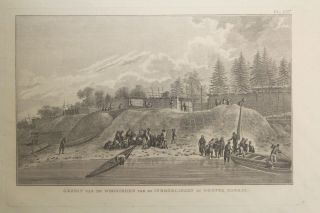Gezigt Van De Woomingen Van De Inboorlingen in Nootk a Kanaal (The sight of the Natives of Houses in Nootka Channel) Engraving