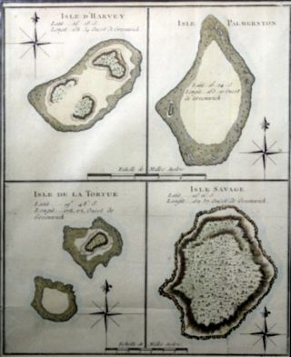 Map of Four Islands of the Cook Islands: Isle d'Harvey, Isle Palmerston, Isle de la Tortue, Isle...