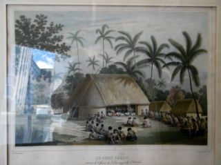 Le Chef Palou, recevant les Officiers de l'Etat-major de l'Astrolabe (Tonga-Tabou) Engraving....