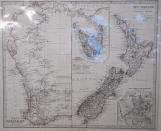 Western Australien and Neu-Seeland Map. BULL, STUCHART