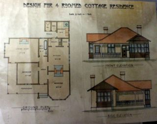 Architectural Plan 'Design for 4 Roomed Cottage Residence Drawing