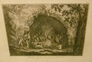 Inwooners Van Terra Del Fuergo in Hunne Hut (Residents of Terra Del Fuego in Their Hut) Engraving. J. S. KLAUBER.