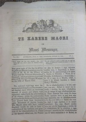 Te Karere Maori or Maori Messenger, July 18, 1863. Vol III. No.6. C. O. DAVIS