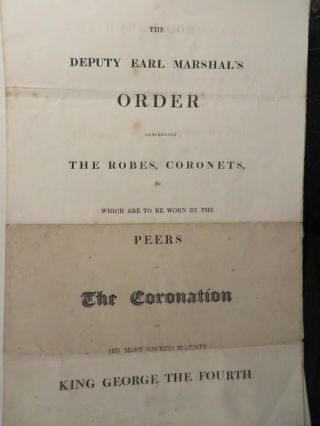 The Deputy Earl Marshal's Order concerning the robes, coronets etc which are to be worn by the...
